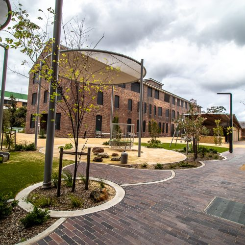 Joynton Avenue Creative Centre featuring Blue Mottle Pavers by Lincoln Brickworks