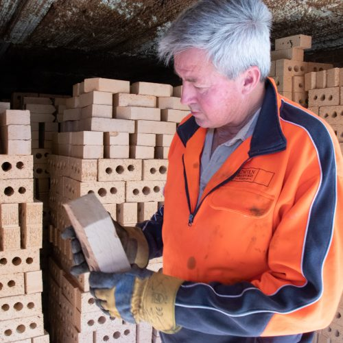 Checking the quality of hand made bricks from the kiln